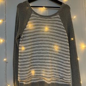 Hollister Stripped Sweater - Grey and White